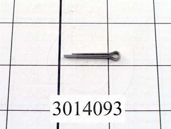 "Pin, Cotter, 0.094"" Diameter, 0.750"" Overall Length, Stainless Steel Material, Plain Finish"