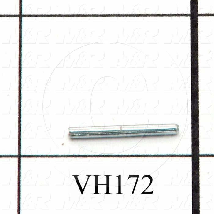 "Pin, Groove Dowel Pin, 0.063"" Diameter, 0.625"" Overall Length, Steel Material, Zinc Finish"