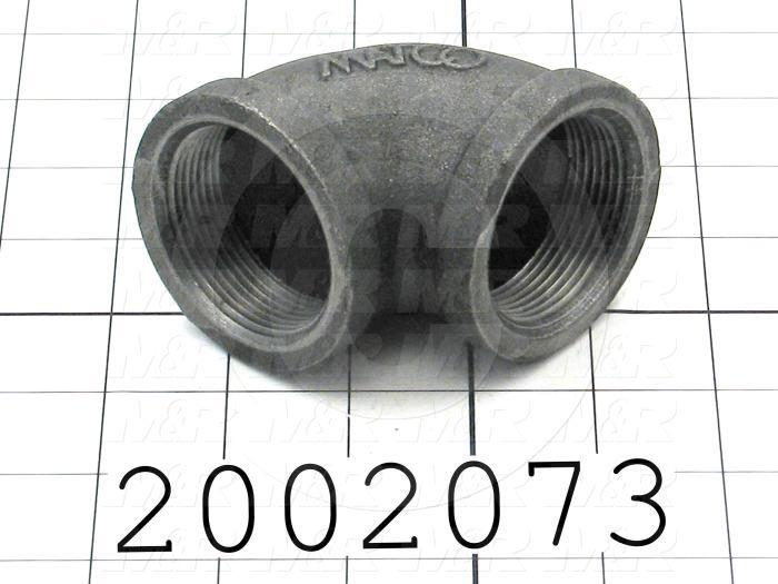 "Pipe Fittings & Connectors, 90 deg Elbow Type, 1 1/2"" NPT Pipe Size, Black Cast Iron Material, Female Both Ends"