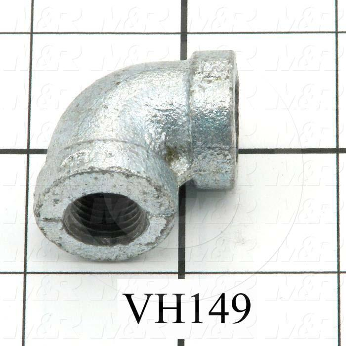 "Pipe Fittings & Connectors, 90 deg Elbow Type, 1/4"" NPT Pipe Size, Galvanized Malleable Iron Material, A x B 1/4""NPT x 1/4""NPT"