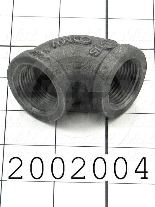 "Pipe Fittings & Connectors, 90 deg Elbow Type, 3/4"" NPT Pipe Size, Cast Iron Material"