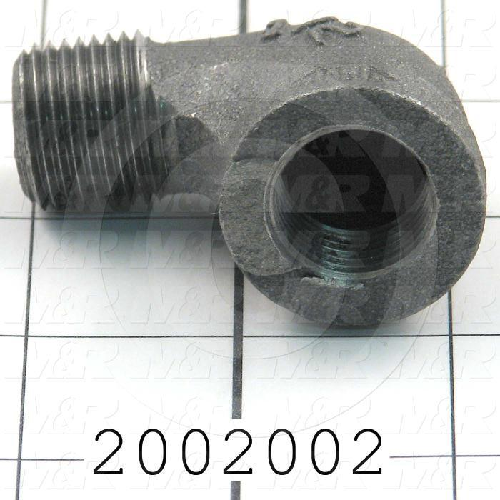 "Pipe Fittings & Connectors, 90 deg Elbow Type, Black Cast Iron Material, 1/2"" NPT x 1/2"" NPT Male x Female"
