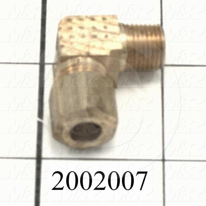 "Pipe Fittings & Connectors, 90 deg Elbow Type, Brass Material, A x B 1/4"" - 1/8"""