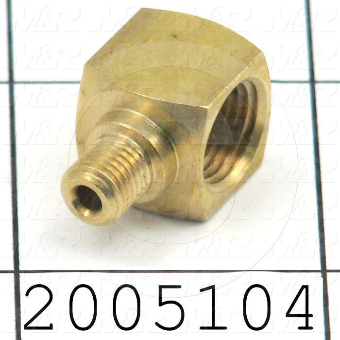 "Pipe Fittings & Connectors, 90 deg Elbow Type, Brass Material, A x B 1/8"" NPT -  M6x.75"