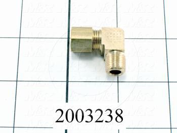 "Pipe Fittings & Connectors, 90 deg Elbow Type, Brass Material, A x B 1/8"" OD x 1/4"" NPT"