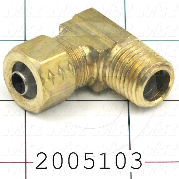 "Pipe Fittings & Connectors, 90 deg Elbow Type, Brass Material, A x B 3/8"" OD x 1/4"" NPT"