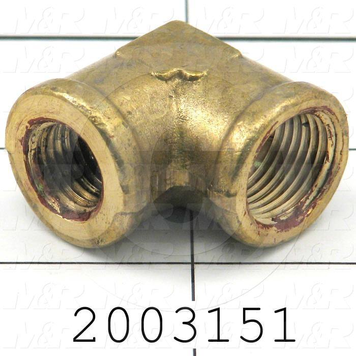 "Pipe Fittings & Connectors, 90 deg Reducer Elbow Type, Brass Material, A x B 1/4"" OD x 3/8"" NPT"