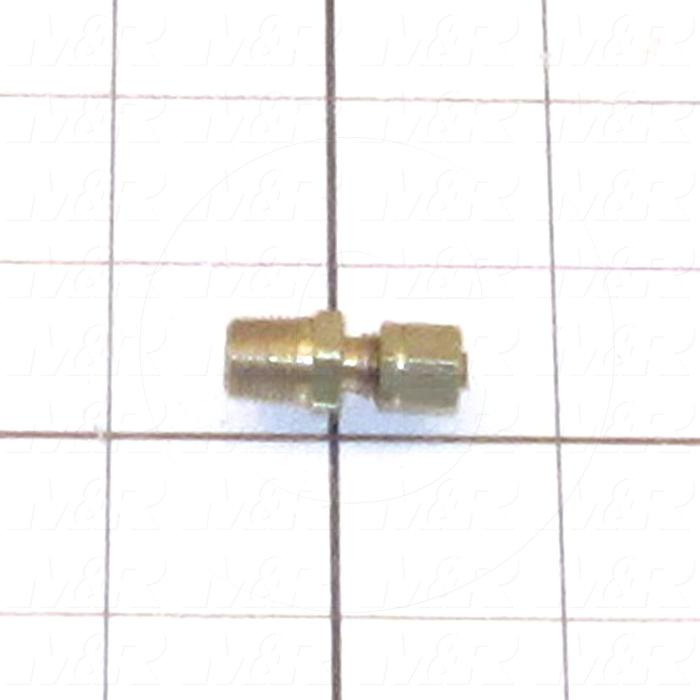 "Pipe Fittings & Connectors, Adapter Type, Brass Material, A x B 1/8"" OD x 1/8"" NPT"