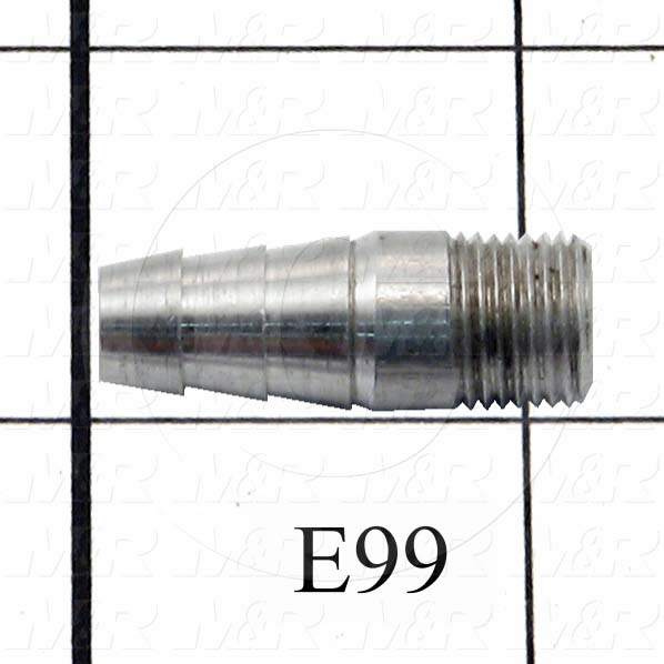 """Pipe Fittings & Connectors, Barbed Hose Fittings Type, 1/8"""" NPT Pipe Size, 1-1/8"""" Pipe Length, Aluminum Material"""
