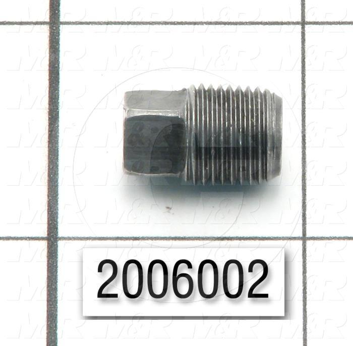 "Pipe Fittings & Connectors, Square Socket Plug Type, 1/8"" NPT Pipe Size, Malleable Steel Material"