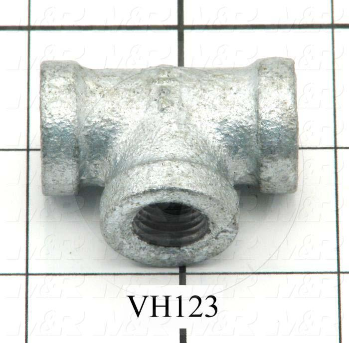 Pipe Fittings & Connectors, Tee Female Type, 1/4 NPT Pipe Size, Galvanized Steel Material, A x B x C 1/4 Npt X 1/4 Npt X 1/4 Npt - Details
