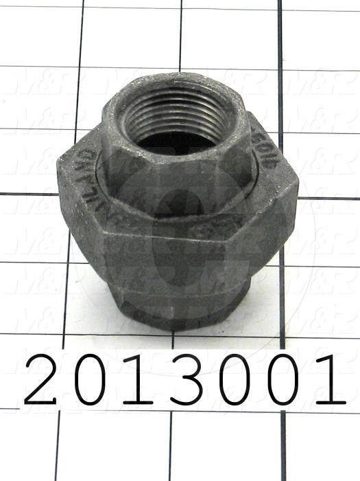 """Pipe Fittings & Connectors, Union Type, 3/4"""" NPT Pipe Size, Black Malleable Iron Material"""