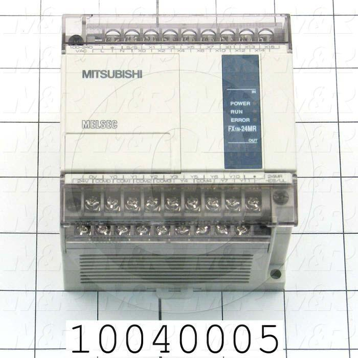 PLC, FX1N, 24 I/O, 14 Inputs, 24VDC Sink/Source, 10 Outputs, Relay