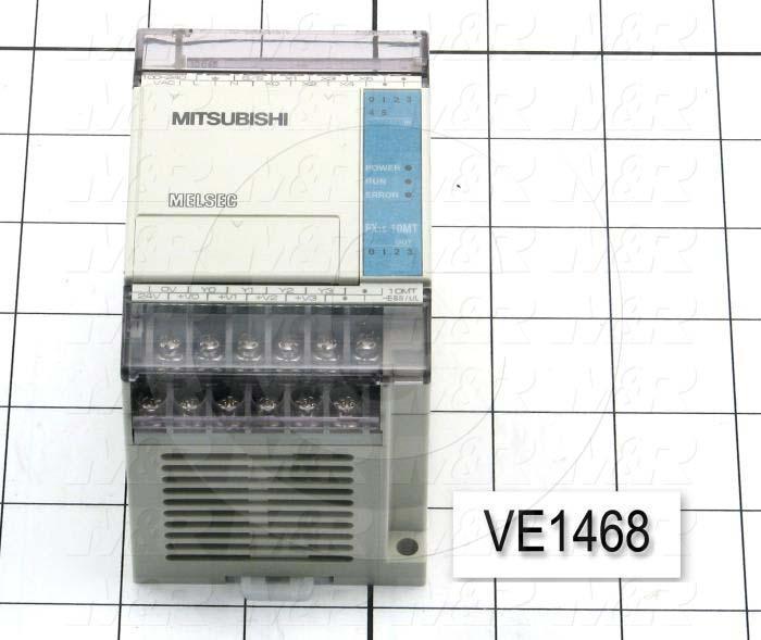 PLC, FX1S, 10 I/O, 6 Inputs, 24VDC Sink/Source, 4 Outputs, Transistor