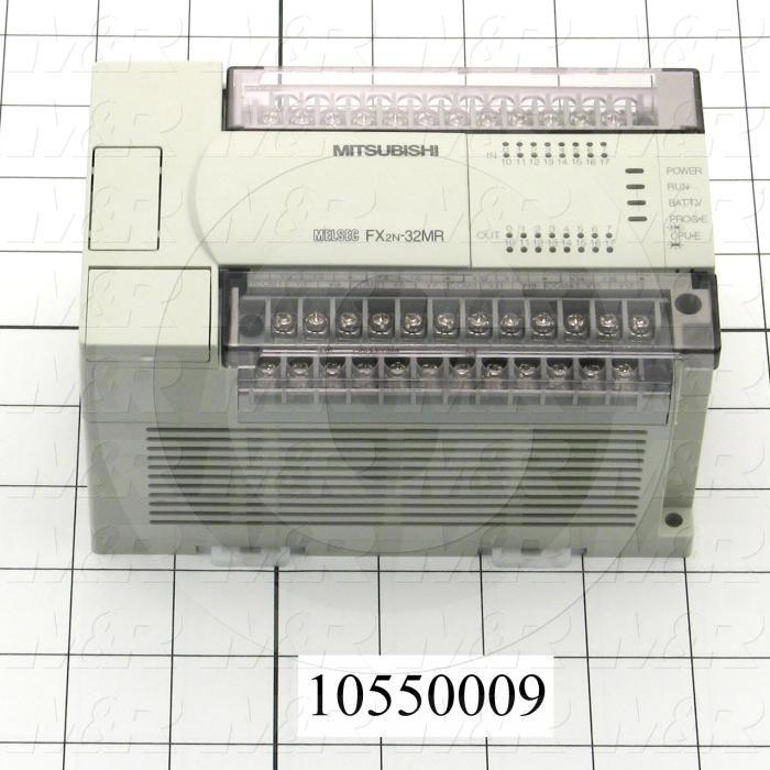 PLC, FX2N, 32 I/O, 16 Inputs, 24VDC Sink/Source, 16 Outputs, Relay