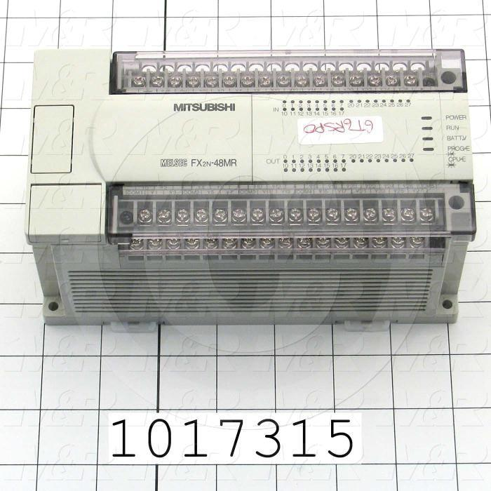 PLC, FX2N, 48 I/O, 24 Inputs, 24VDC Sink/Source, 24 Outputs, Relay, 100-240VAC