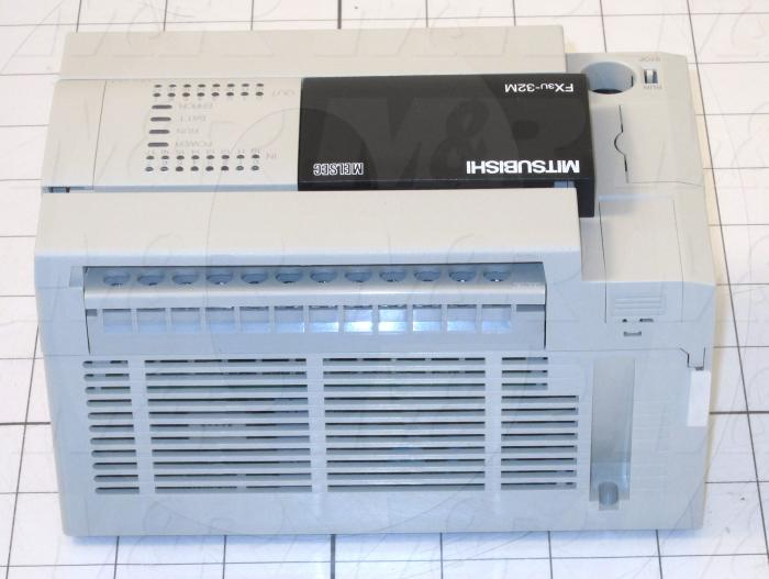 PLC, FX3U, 32 I/O, 16 Inputs, DC Sink In, 16 Outputs, Relay, 100-240VAC