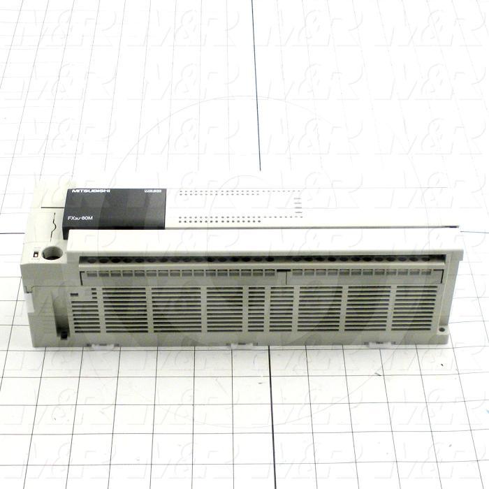 PLC, FX3U, 80 I/O, 40 Inputs, DC Sink In, 40 Outputs, Transistor