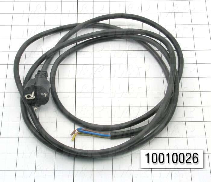 Power Cord, 2.5m, 3 Conductors, CEE 7/7 Plug Configuration, 250VAC, 16A