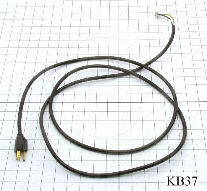 "Power Cord, 96"", 3 Conductors, 18AWG"