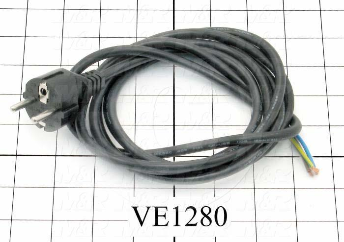 Power Cord, European, 3 Conductors, 10A
