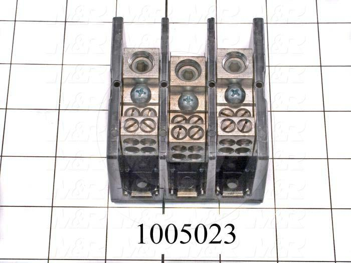 Power Distribution Block, 3 Poles, 1 Line Connection/Pole, 4 Load Connection/Pole, 600VAC, 175A