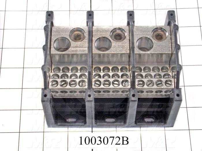 Power Distribution Block, 3 Poles, 2 Line Connection/Pole, 12 Load Connection/Pole, 570A