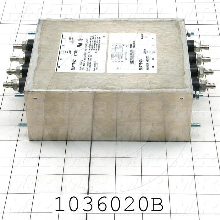 Power Line Filter, 440VAC, 3 Phase, 50/60Hz, 30A