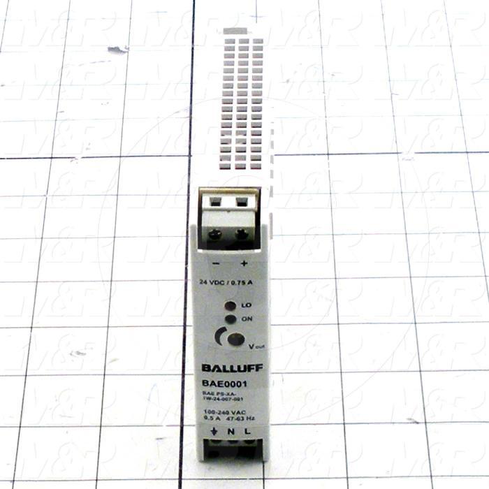 Power Supply, 100-240VAC Input Voltage, 0.17A Input Current, 7.5W, 24VDC Output Voltage, 0.3A Output Current