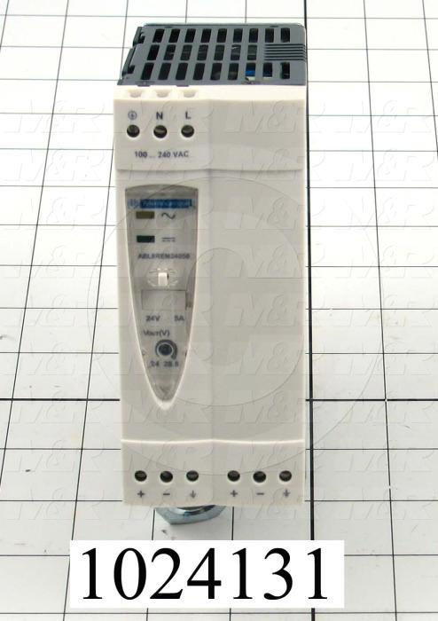 Power Supply, 100-240VAC Input Voltage, 1.4A Input Current, 120W, 24VDC Output Voltage, 5A Output Current