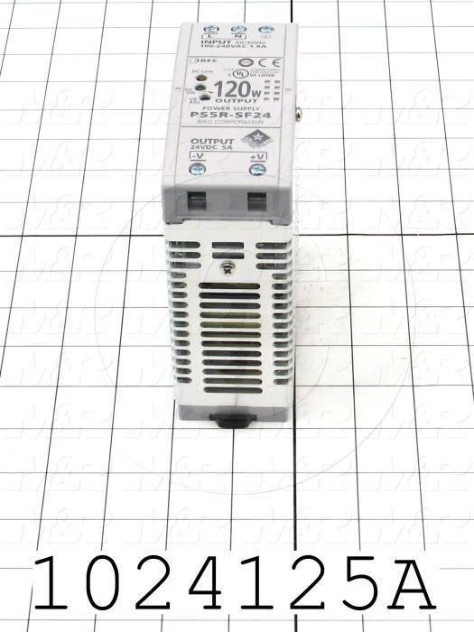 Power Supply, 100-240VAC Input Voltage, 1A Input Current, 120W, 24VDC Output Voltage, 5A Output Current