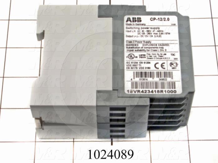 Power Supply, 90-260VAC Input Voltage, 0.3A Input Current, 25W, 12VDC Output Voltage, 2A Output Current, UL 508