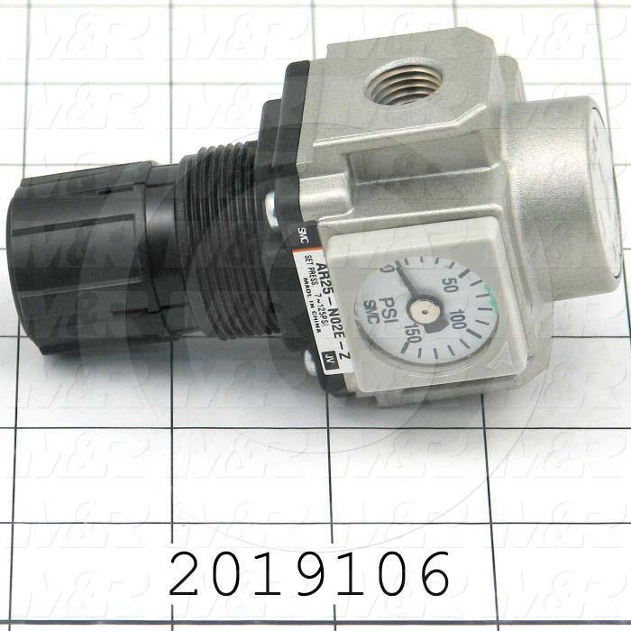 "Pressure Regulator, 1.0 MPa Max. Pressure, 1/4"" NPT Female Port In, Panel Mounting, 1/4"" NPT Female Port Out, With Gauge"