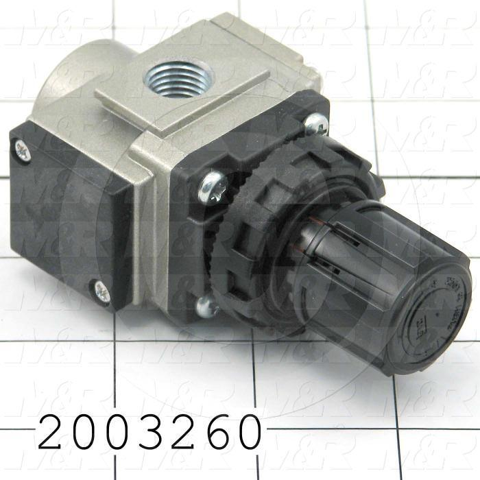 "Pressure Regulator, 1.0 MPa Max. Pressure, 1/4"" NPT Port In, With Reverse Flow, Panel Mounting, 1/4"" NPT Port Out"