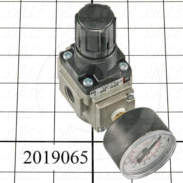 "Pressure Regulator, 1.5 MPa Max. Pressure, 1/4"" NPT Port In, Bracket Mounting, 1/4"" NPT Port Out, With Gauge"