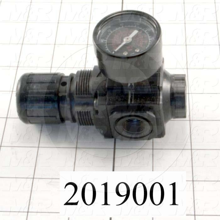 "Pressure Regulator, 290 Psi Max. Pressure, 3/8"" PTF Port In, Bracket Mounting, 3/8"" PTF Port Out, With Gauge"
