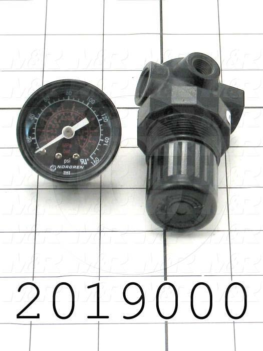"Pressure Regulator, 300 Psi Max. Pressure, 1/4"" PTF Port In, Bracket Mounting, With Gauge"