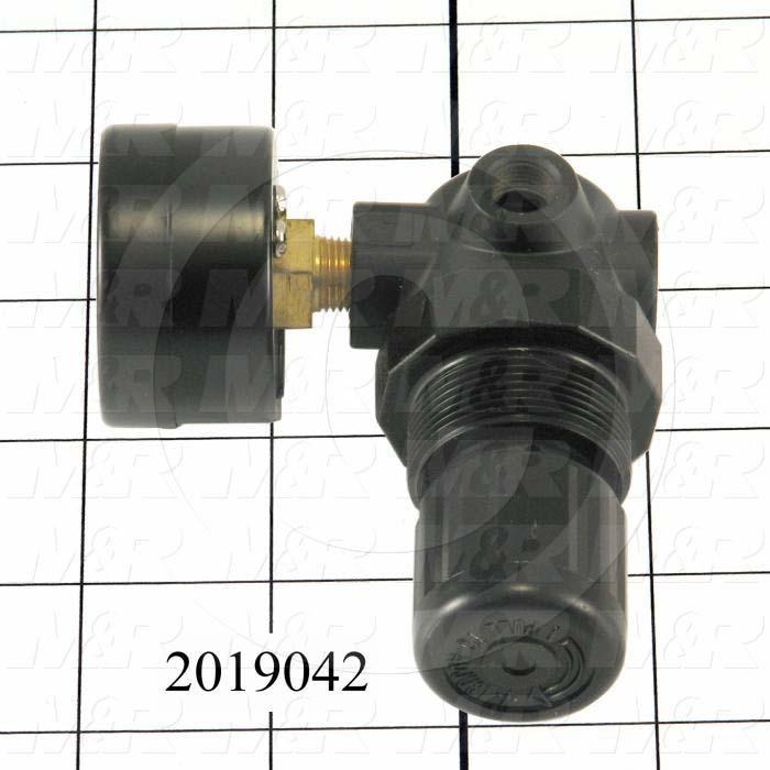 "Pressure Regulator, 300 Psi Max. Pressure, 1/8"" PTF Port In, Bracket Mounting, 1/8"" PTF Port Out, With Gauge"