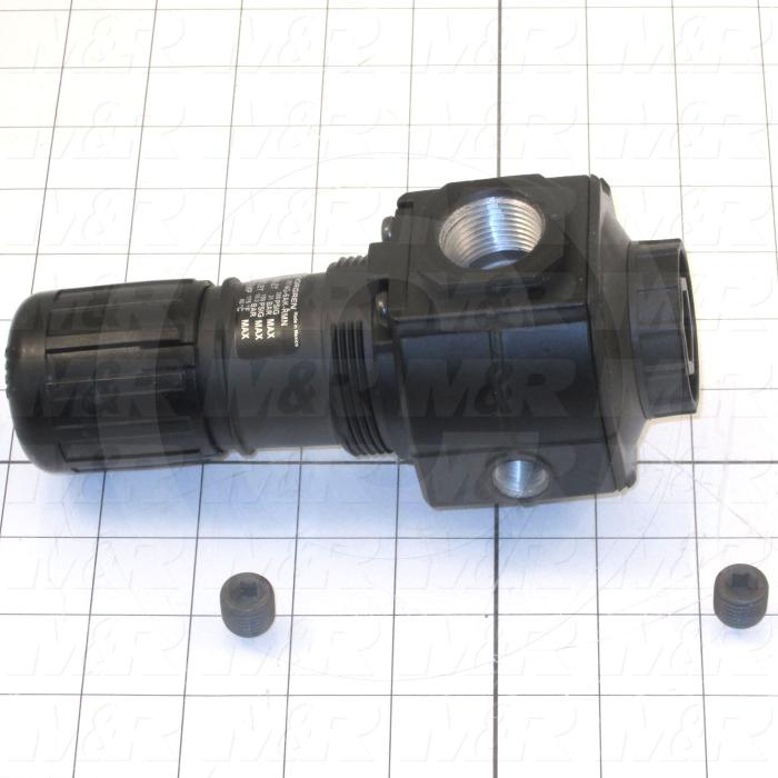 "Pressure Regulator, 300 Psi Max. Pressure, 3/4"" PTF Port In, Bracket Mounting, 3/4"" PTF Port Out, With Gauge"