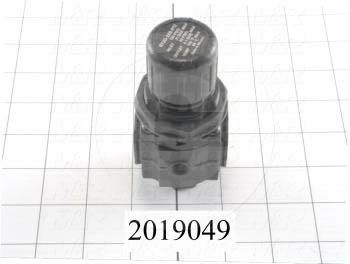 "Pressure Regulator, 60 Psi Max. Pressure, 1/4"" NPT Port In, Panel Mounting, 1/4"" NPT Port Out, With Gauge"