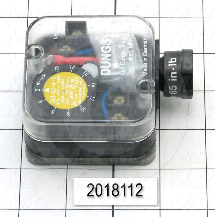 "Pressure Regulators/Switches, Thread Size 1/4"" NPT, Max. Pressure 7.0 Psi, Pressure Range 2-20""wc, Contact ratings 240V 10AMP"