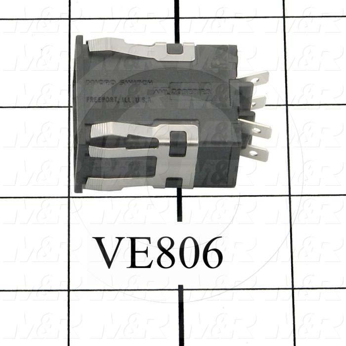 Pushbutton Switch, Alternating, Rectangle, DPST, 0.5-30VDC/0.5-250VAC, 0.4-10A