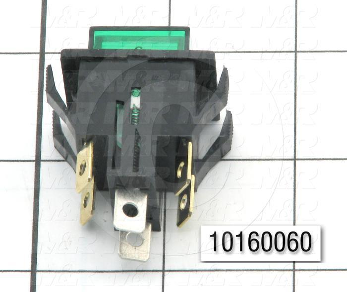 Pushbutton Switch, Alternating, Square, Green, DPST, Neon, 125V
