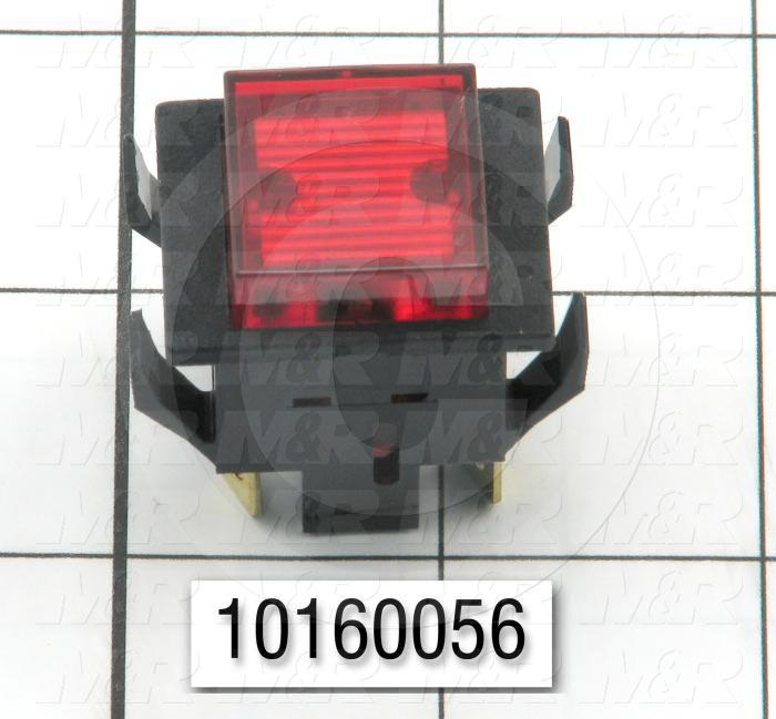 Pushbutton Switch, Alternating, Square, Red, DPST, Neon, 125V