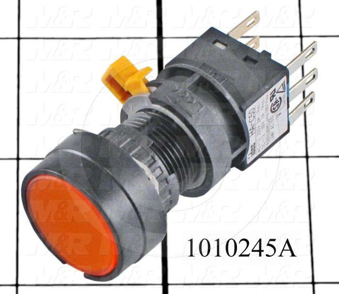 Pushbutton Switch, Momentary, Oversize Round, 16mm, Amber, SPDT, LED, 24VDC