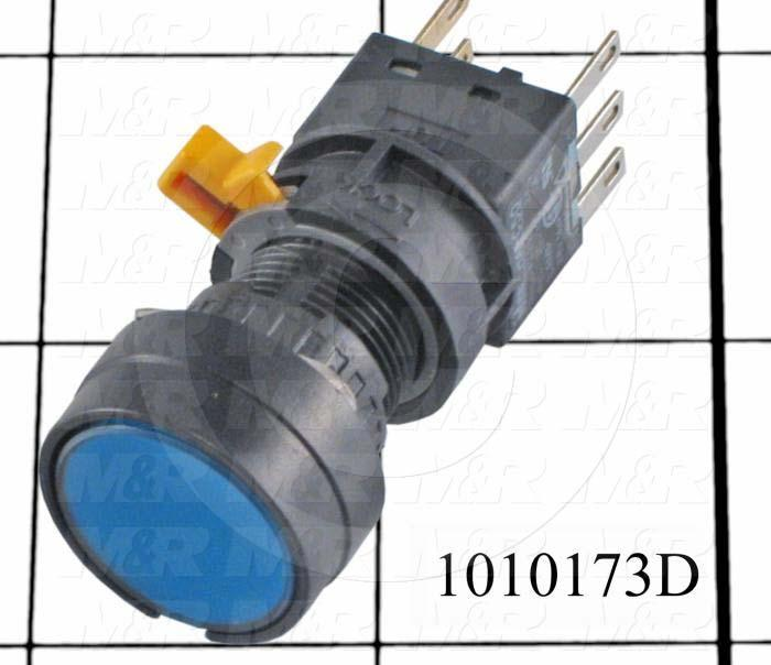Pushbutton Switch, Momentary, Oversize Round, 16mm, Blue, SPDT, LED, 24VDC