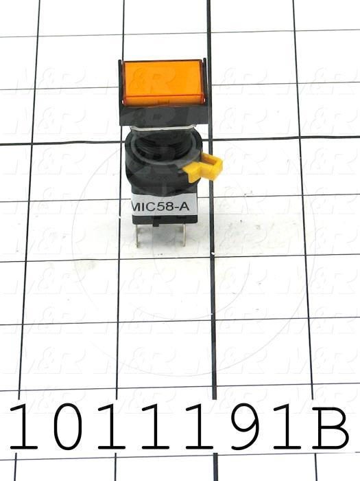 Pushbutton Switch, Momentary, Rectangle, Amber, SPDT, Illuminated, 120V