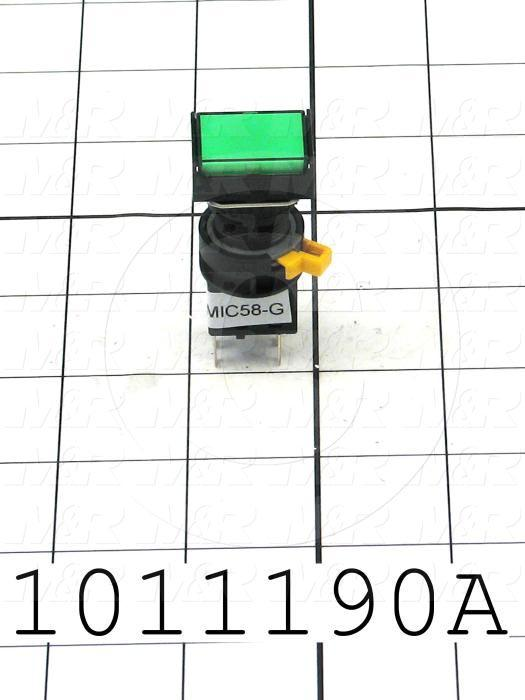 Pushbutton Switch, Momentary, Rectangle, Green, SPDT, Illuminated, 120V