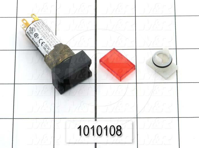 Pushbutton Switch, Momentary, Rectangle, Red, 24VDC