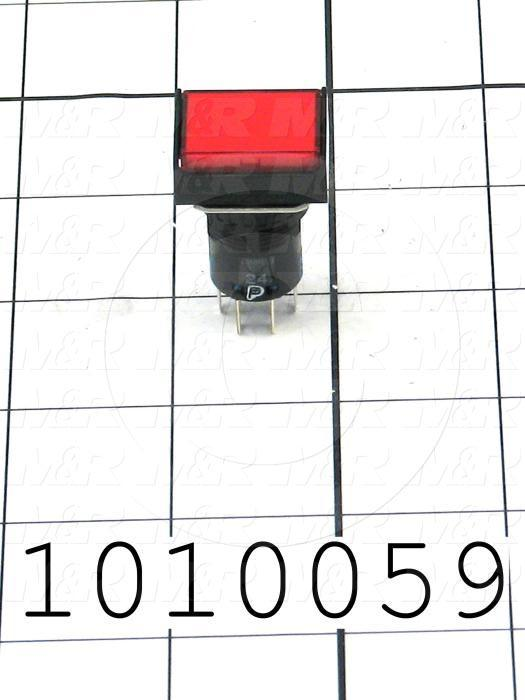 Pushbutton Switch, Momentary, Rectangle, Red, DPDT, Incandescent, 24V